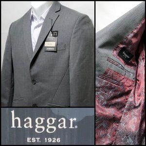 New! Haggar Slim Fit Grey/Red Viscose Blazer
